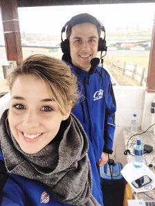 Cool Motor Racing's Sarah Botha with Tom Brooks in our temporary commentary box for the morning.